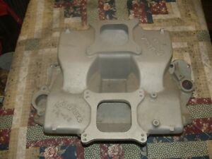 Chevrolet Chevy Intake 283 327 350 383 Edlebrock Cross Ram X c8 2x4 Vintage Coma