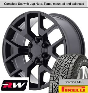 20 Wheels And A t Tires For Chevy Silverado 1500 Replica 5656 Gloss Black Rims