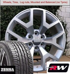 22 X9 Wheels And Tires For Chevy Suburban Replica 5658 Silver Machined Rims