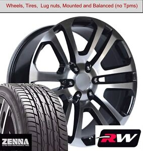 22 X9 Inch Wheels And Tires For Chevy Suburban Replica 4741 Black Machined Rims