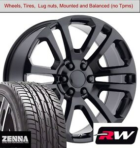 22 X9 Inch Wheels And Tires For Chevy Suburban Replica 4741 Gloss Black Rims