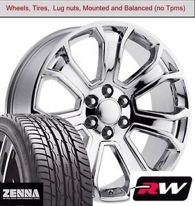 20 X9 Inch Wheels And Tires For Chevy Silverado 1500 Replica 5665 Chrome Rims