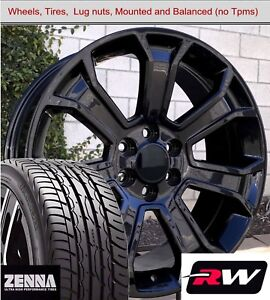 22 X9 Inch Wheels And Tires For Chevy Tahoe Replica 5665 Gloss Black Rims