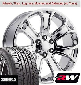 22 X9 Inch Wheels And Tires For Chevy Tahoe Replica 5665 Chrome Rims