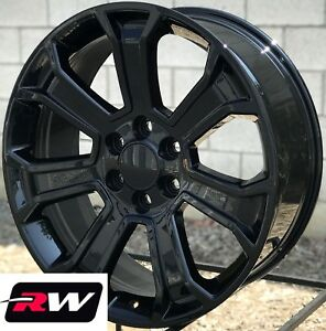 22 X9 Inch Chevy Tahoe Factory Style 5665 Wheels 2017 2018 Gloss Black Rims