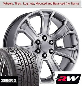 22 X9 Inch Wheels And Tires For Chevy Avalanche Replica 5665 Hyper Silver Rims