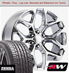 22 X9 Inch Wheels And Tires For Chevy Avalanche Replica 5668 Chrome Rims