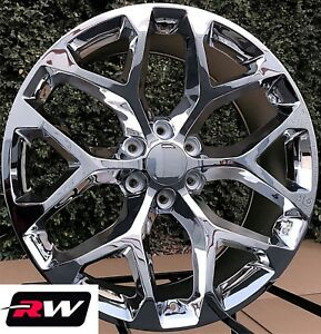22 X9 Inch Chevy Tahoe Factory Style Snowflake Wheels Chrome Rims 6x139 7 24