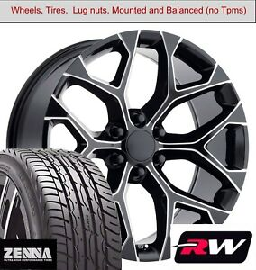 20 X9 Inch Wheels And Tires For Chevy Suburban Replica 5668 Black Milled Rims