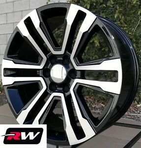 22 X9 Chevy Tahoe Factory Style Denali Wheels 2017 2018 Machined Black Rims