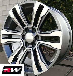 20 X9 Inch Rw Gmc Denali 2017 2018 Wheels For Chevy Truck Machined Gray Rims Set
