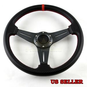 3 spoke Cf Gunmetal Red Stitched 320mm 6 bolt Aftermarket Drifter Steering Wheel