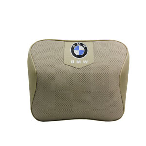 Beige Real Leather Car Seat Memory Foam Neck Rest Cushion Pillow Fit For Bmw Car