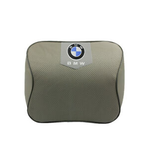 Gray Real Leather Car Seat Memory Foam Neck Rest Cushion Pillow Fit For Bmw Car