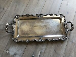 Vintage Wsb Blackinton Large Silver Plate Mark Serving Vanity Bar Tray