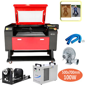 Usb 100w Laser Engraving Cutting Machine Co2 Cutter W Water Chiller Rotary Axis