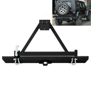 For Jeep Wrangler 87 06 Tj Yj Rock Crawler Rear Bumper W Tire Carrier D Ring