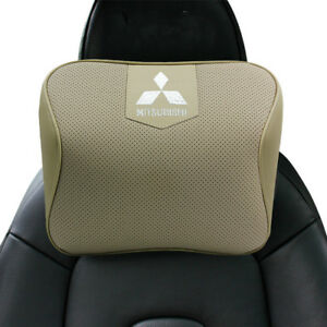 Beige Real Leather Car Seat Memory Foam Neck Rest Cushion Pillow For Mitsubishi
