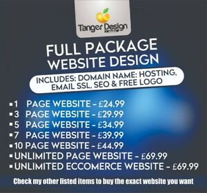 1 Page Web Design Responsive Mobile Friendly Website Domain Name Hosting