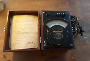 Antique Vintage Weston Voltmeter W case Model 341 Dated 1918 Untested Steampunk