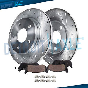 Fits 1999 2004 Jeep Grand Cherokee Rear Drilled Rotors And Ceramic Brake Pads