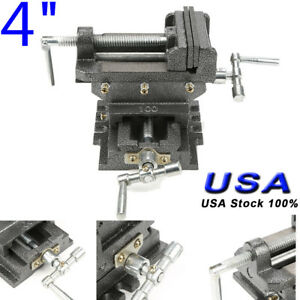 4 Cross Drill Press Vise Bench Slide Metal Milling 2 Way X y Clamp Machine Usa