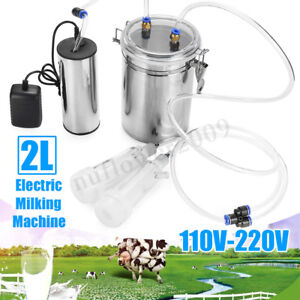 110v 220v 2l Electric Milking Machine Vacuum Pump Set For Farm Cow Sheep Goat