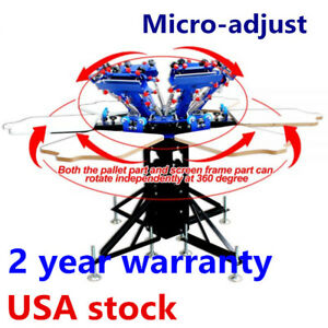 Usa 6 Color 6 Station Screen Printing Press Micro adjust T shirt Print Equipment