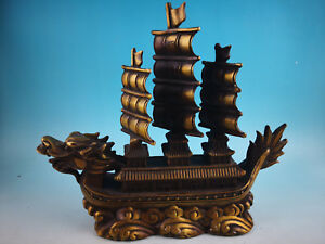 Chinese Old Feng Shui Decorate Bronze Pure Copper Dragon Turtle Boat Sailing