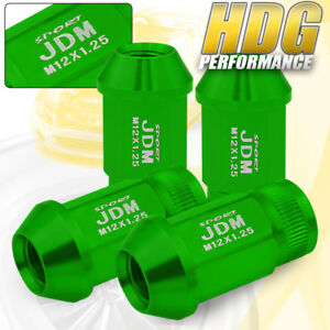 Jdm Sport Alloy Steel 4pc 12mmx1 25 Pitch Thread Green Lug Nuts Universal Vip