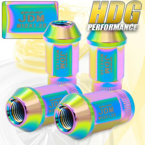 Jdm Sport Alloy Steel 4pc 12mmx1 25 Pitch Thread Neochrome Lug Nuts Universal
