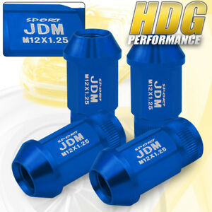 Jdm Sport Alloy Steel 4pc 12mmx1 25 Pitch Thread Blue Lug Nuts Universal Vip Set