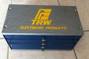 Vintage Trw Electronic Products 4 drawer Case Some Used And Nos Capacitors