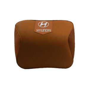 Brown Real Leather Car Seat Memory Foam Neck Rest Cushion Pillow Fit For Hyundai