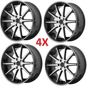 20 Inch Asanti Custom Wheels Rims Gloss Black Machine Lexani Dub Forgiato Crave