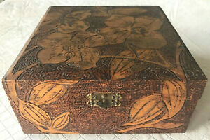 Antique Hand Crafted Pyrography Box 7 X 7 Burnt Wood Floral Design Folk Art