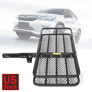Folding Cargo Grid Luggage Carrier Mount Basket Rack Truck Suv 2 Receiver Hitch