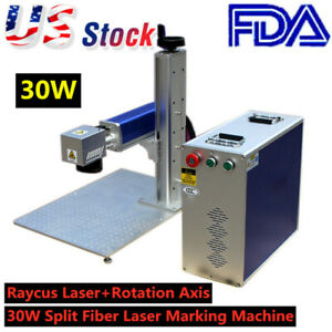 Us 30w Split Fiber Laser Marking Engraving Machine Ratory Axis Include