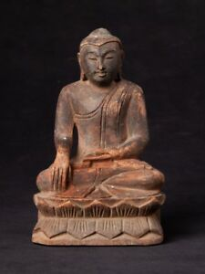 Mid 20th Century Old Wooden Buddha Statue From Burma