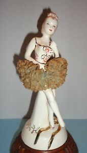 Antique Porcelain Figurine Germany Dresden Lace Ballerina 8 75 Applied Roses
