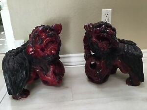 Extra Large Chinese Fengshui Wood Carved Foo Fu Dog Evil Beast Lion Statue Pair