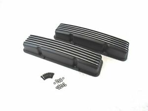 Chevrolet Sbc Tall Valve Covers Black Finned Aluminum 283 327 350 383 Chevy