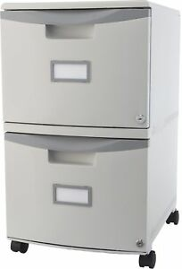 Storex 2 drawer Mobile File Cabinet Lock And Casters Grey