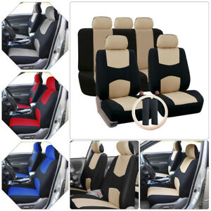 11pc Universal Car Suv Polyester Fiber Seat Cover Breathable Comfortable Covers
