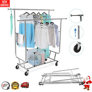 Adjustable Rolling Garment Rack Collapsible Double rail Clothes Dryer Hanger New