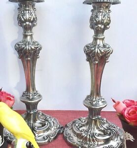 Antique 19th Century English Silver Plate Candlesticks Tall
