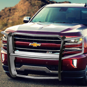 Polished Front Tubular Headlight Grille Brush Guard For 14 18 Chevy Silverado
