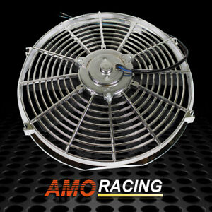 Chrome Reversible 14 Inch Straight Blade Electric Cooling Fan 12v 1900cfm