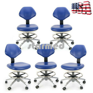 5 puleather Adjustable Dental Stool Dentist Chair Doctor Hydraulic Rolling Stool