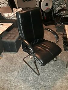 Office Star Deluxe Mid Back Leather Visitors Chair With Chrome Base 4 Available